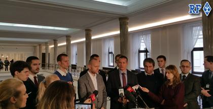 Conférence de presse au Parlement.